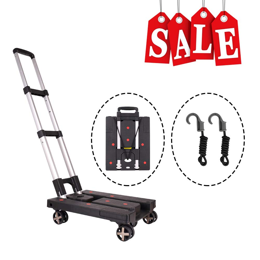 Pansonite Folding Luggage Cart with 99 Lb Capacity, Portable Heavy Duty Aluminum Hand Truck and Dolly with 5 Wheels and 2 Free Rope for Luggage, Travel, Moving, Shopping, Office Use