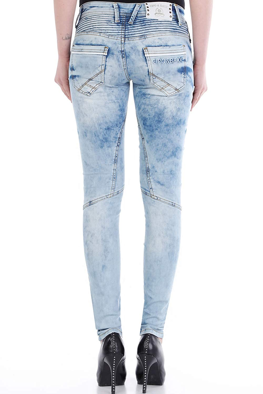 c036f9944596c7 CIPO&BAXX Damen Skinny-Jeans mit Doppeltem Bund: Amazon.de: Bekleidung