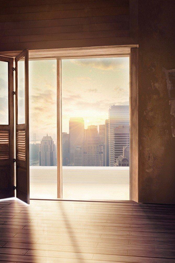 A Monamourサンセット景色Sunshine Through開くドアで部屋木製床インドアスタジオ小道具写真撮影背景幕ビニール   B01J86HW84