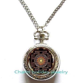 Sri Yantra colgante reloj de bolsillo, geometría sagrada joyas, Sri Yantra reloj de bolsillo