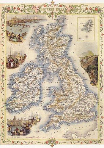 1800'S British Isles Edinburgh Dublin Ireland Scotland Map Large Vintage Poster Repro