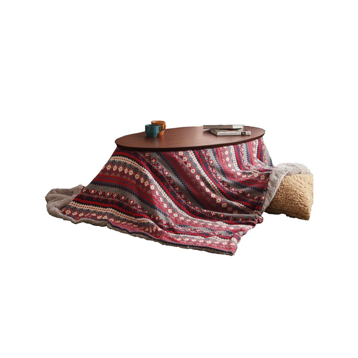 レッド/Roots こたつ布団 210×190 模様編みニット シープボア 北欧柄 ノルディック模様 保温 オシャレ かわいい   B076H122WG