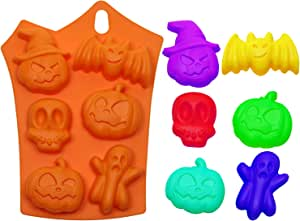 Mini Skater 3Pcs Rectangle Halloween Silicone Baking Molds with Pumpkin Bat Skull Ghost Shape for Chocolate Cookie Candy Ice Cube Molds Kitchen DIY Baking Tools Supplies (Orange,6-cavity)
