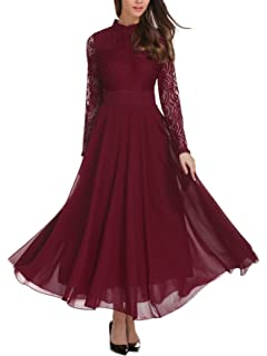 0f338bdd54e Milumia Women s Vintage Floral Lace Long Sleeve Ruched Neck Flowy Long Dress