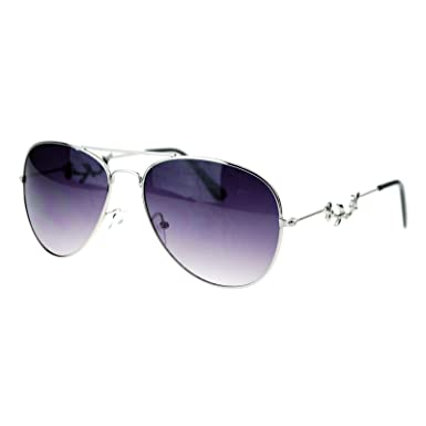 b64267336c4 SA106 Womens Floral Jewel Thin Metal Aviator Sunglasses Silver   Amazon.co.uk  Clothing