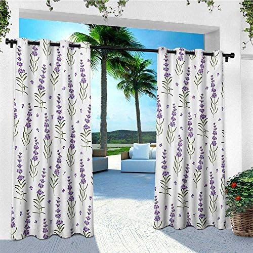 leinuoyi Lavender, Outdoor Curtain Kit, Nature Pattern with Delicate Lavender Twigs Fresh Organic Plants Herb, for Gazebo W72 x L96 Inch Violet Sage Green White