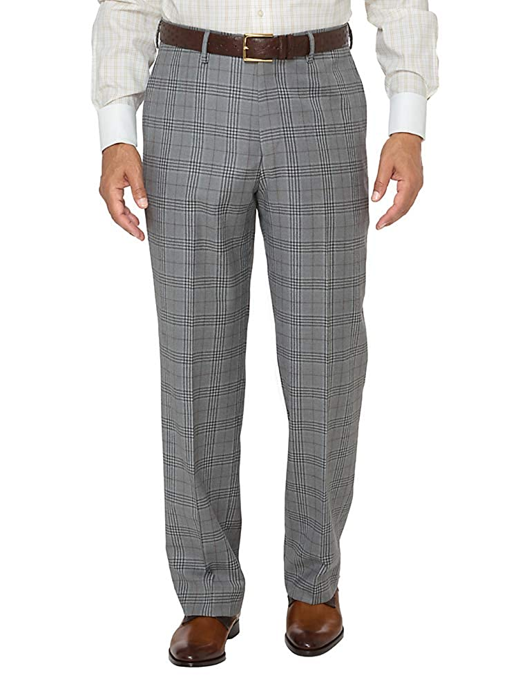 1940s Trousers, Mens Wide Leg Pants Paul Fredrick Mens Wool Glen Plaid Flat Front Suit Pants $129.95 AT vintagedancer.com