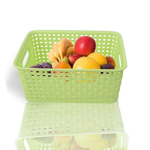 Ackmond Cestas/organizadores de cubos de almacenamiento de plástico multicolor, pack de 3 - rosa, azul y verde: Amazon.es: Hogar
