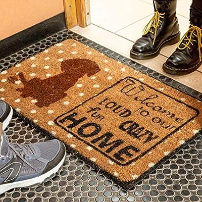 FOOTMATTERS Ninamar Natural Coir Welcome Door Mat – 29.5 x 17.5 inch