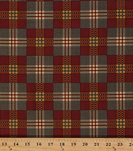 Charleston Plaid - Cotton Jo Morton Charleston Red Plaid Civil War Reproduction Cotton Fabric Print by the Yard (7471-OR)