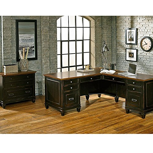 - Hartford L-Desk with Right Return and Lateral File Set Coffee Espresso/Golden Oak Top Weight: 589 lbs