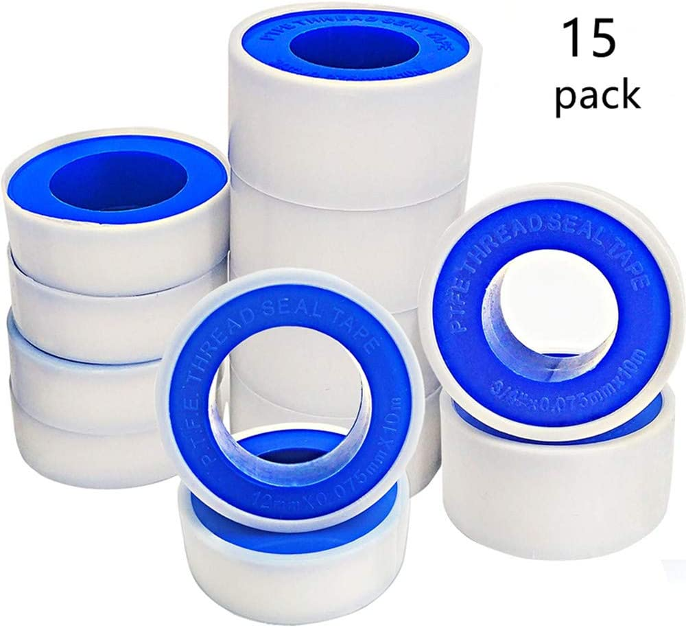 Air Head Thread Pipe(White) Teflon Tape PTFE Pipe Sealant Tape Plumbing Plumber Fitting for Leak Water 15 Rolls Thread Seal Tapes