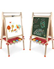 Wooden Art Easel Double-Sided Whiteboard & Chalkboard Adjustable Standing Easel with Paper Roll Holder,Extra Letters and Numbers Magnets and Other Accessories for Kids,Toddlers,Boys and Girls