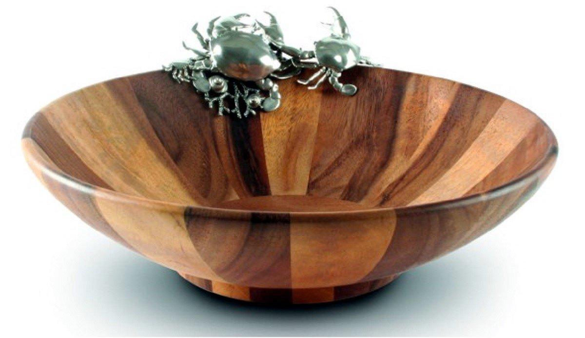 Carved Acacia Wood and Pewter Crab Salad Serving Bowl