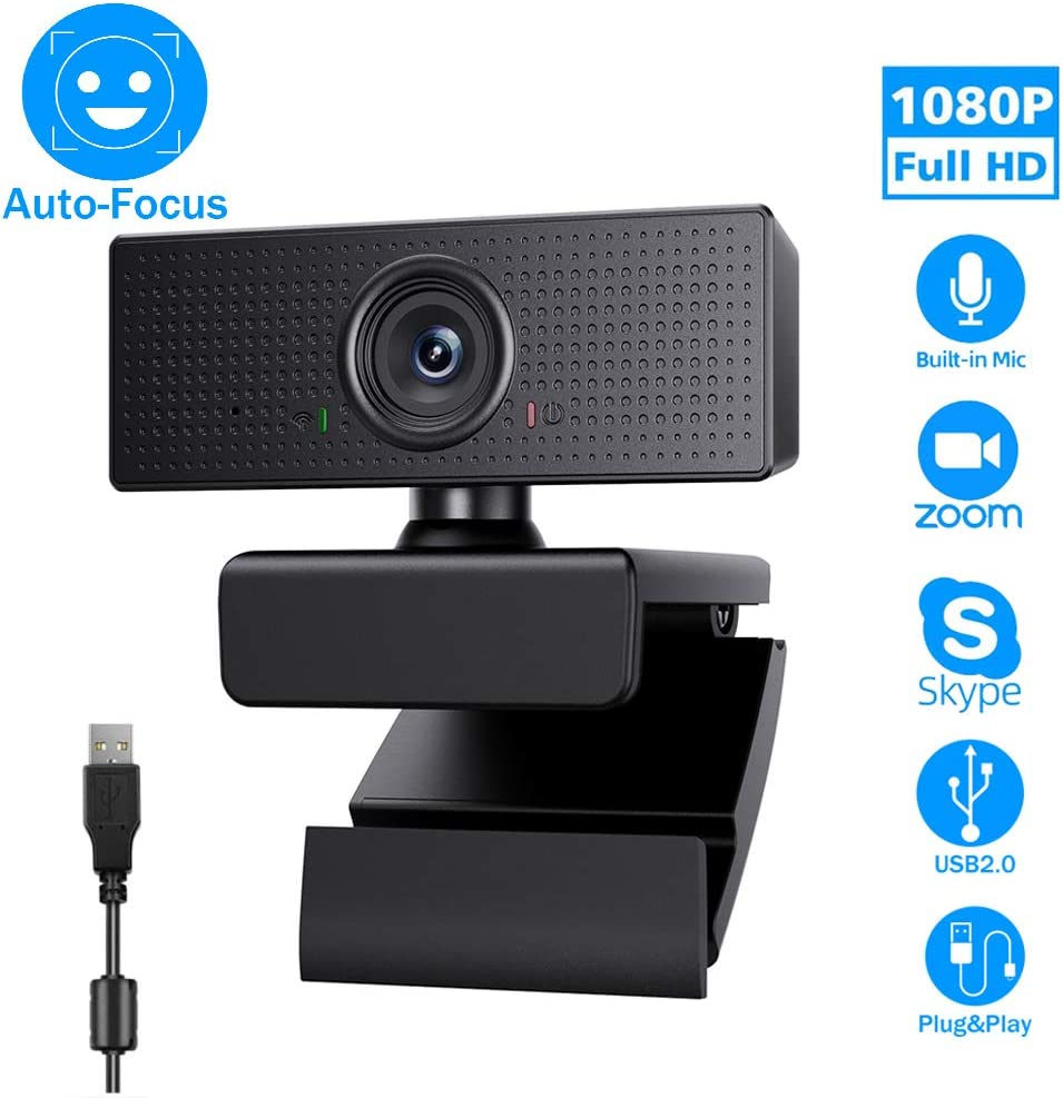 1080P Webcam USB Camera, Vmtoal Web Cam with 110-degree Wide Angle Widescreen USB HD Camera, Plug and Play, Microphone for PC Laptop Desktop Web Camera for Zoom YouTube Skype Face Time