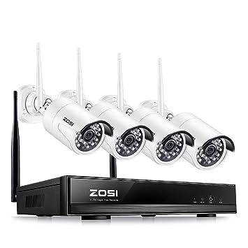 ZOSI Kit de Cámaras de Vigilancia WiFi 1080P Sistema de Seguridad 4CH HD NVR + (