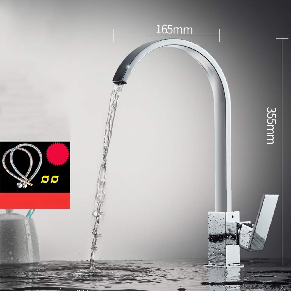 K W16.5xH35.5cm(6x14inch) redating Single Kitchen Faucet, Sink Faucet Hot and Cold Water tap Household Copper 304 Stainless Steel Lavatory Faucet-L W20.5xH27.5cm(8x11inch)