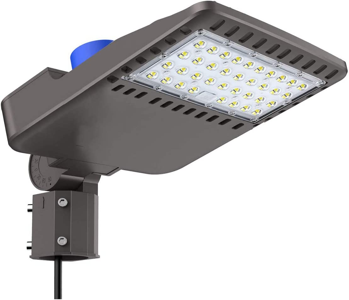 LED Parking Lot Shoebox Area Light, 100W (250-400W MH/HPS Replacement) 5000K, 13,000 Lumen, Slip Fitter Mount, UL DLC Premium Listed, Outdoor Waterproof IP 65 Rating
