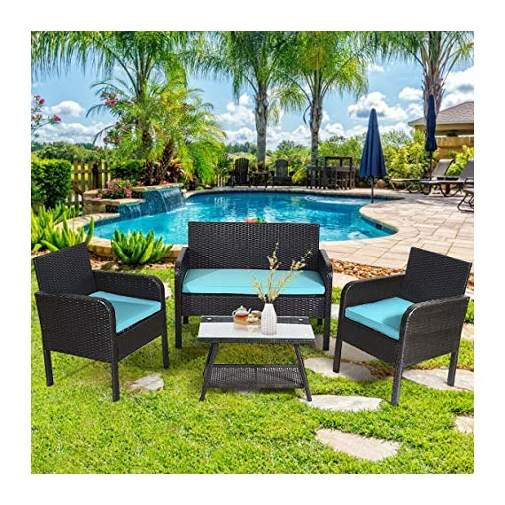 Tangkula 4 Piece Patio Outdoor Conversation Set with Glass Coffee Table, Loveseat & 2 Cushioned Chairs Garden Lawn Rattan Wicker Patio Chat Set Outdoor Furniture Set (Blue) (1) - Sturdy Frame & Hand-Woven Rattan: Our 4-piece patio furniture set is made of superior steel and premium PE rattan that ensures the stability and durability. And the exquisite craftsmanship improves overall weight capacity. Besides, the set can withstand moderate wind or rain. Ergonomic Chair with Waterproof Cover: At the front of the armrest, the corner is designed in round which accord with your line of hand and wrist. And the height of armrest is not too high or too low to relax your hand or arm. What's more, the zippered cover of the cushion can be removed from cushion and cleaned conveniently. Glass Top Table with Shelf: The tempered glass is fixed by 4 suckers and it won't move freely. And the top is removable so that it is easy to clean if the top is dirty. Besides, the lower shelf can provide additional storage space for you to store some sundries. At the bottom of the table, there are 4 pads to prevent slip and protect ground. - patio-furniture, patio, conversation-sets - 61lQqjHQ8LL. SS570  -