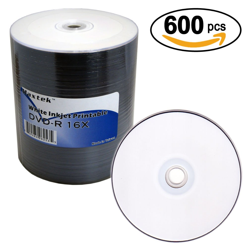 MaxTek Premium White Inkjet HUB Printable DVD-R DVDR 16x Blank Disc Media, 600 Pieces. Wholesale Direct.
