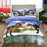 SxinHome 3D Tyrannosaurus Rex Dinosaur Bedding Set for Teen Boys, Duvet Cover Set,3pcs 1 Duvet Cover 2 Pillowcase(no Comforter inside), Full Size