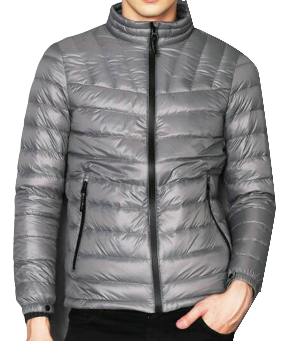 Pandapang Mens Basic Packable Puffer Quilted Jacket Outerwear Down Coat Silvery 2XL
