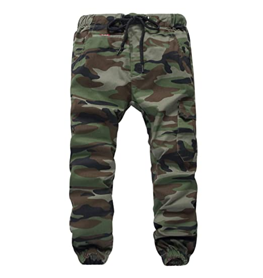 16bf8f227f55ef YoungSoul Pantalons garçon - Jogging avec Chevilles imprimé Camouflage -  Pantalon Cargo à Taille élastique Armée
