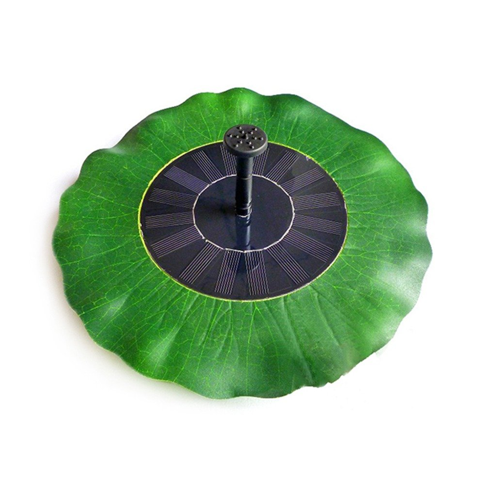 LIEYANG Green Lotus Leaf Shape Solar Powered Garden Pool Water Floating Pump Fountain