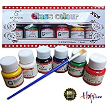 6 Colors Permanent Glass Paint Set with 6*25ml Bottle and 1Brush for Paint on Glass, Professional Glass Color Kit Multi-Surface Satin Glass Craft Paint Set, Transparent Non-toxic Paint for Glass Set
