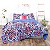 3pc Girls Pink Purple Blue Pink Red Intricate Floral Quilt Full Queen Set, Geometric Flowers Bohemian Bedding, Vibrant Bright Scroll Rose Daisy Paisley Flower Themed Pattern