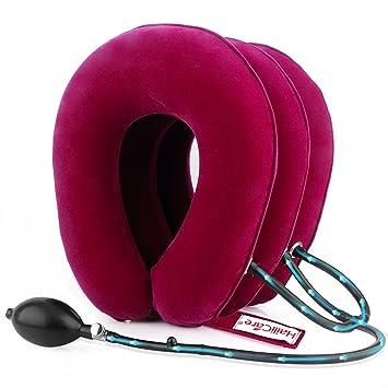 Cuello Cervical Tracción, HailiCare Collar Cervical Inflable con 3 ...