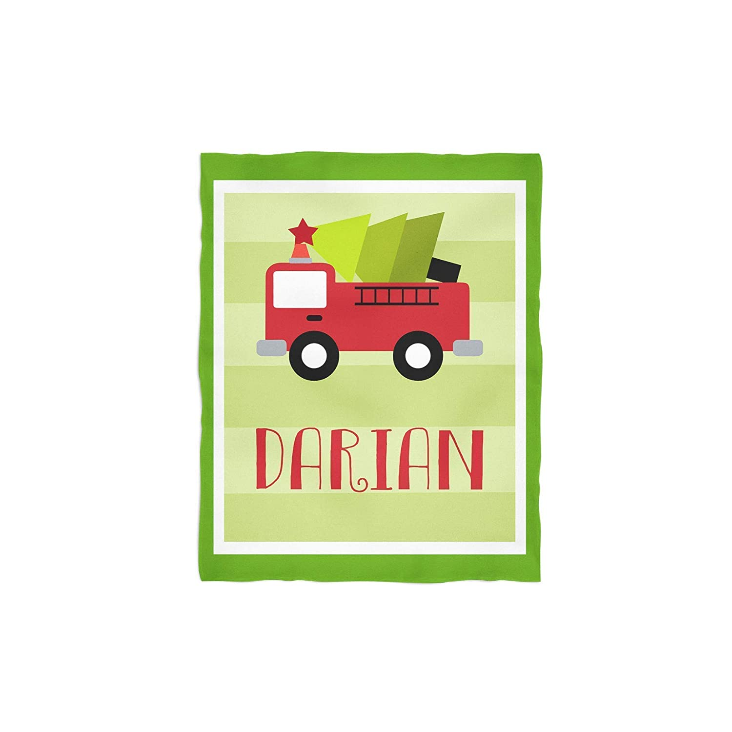 Christmas Firetruck Personalized Throw Blanket
