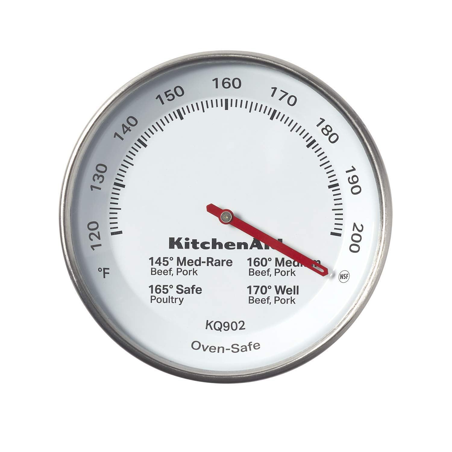 KitchenAid KQ902 Leave-in Meat Thermometer, TEMPERATURE RANGE: 120°F to 200°F, Black (Renewed)