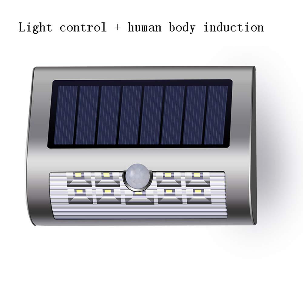 Lampada da parete solare a LED per uso domestico Impermeabile IP44 Induzione via Cortile Corridoio Illuminazione da esterno balcone Ambiente Bianco Corpo umano Sensore esterno Luci di controllo Appliq