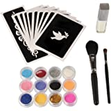 Beauty7 Kits de Stickers Tatouage Temporaire Brillant Corps Pochoirs + Glitter Pourde + Colle + brosss Maquillage du Corps Ephemere Tatouer Tattoo Blingbling DIY