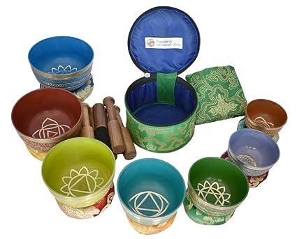 NHZ Chakra Healing Tibetan Singing Bowl Set of 7 for Meditation- Himalayan  Singing bowls (Multicolor Mantra)