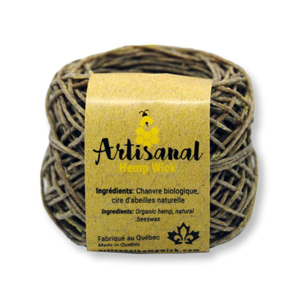 CANADIAN Hemp Wick 50 Feet 100% Natural With Beeswax Artisanal Hemp Wick