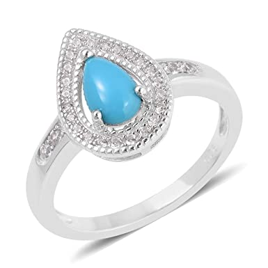 1c2fb5ac6c9291 925 Sterling Silver Sleeping Beauty Turquoise White Zircon Fashion Ring for  Women and Girls Size 9