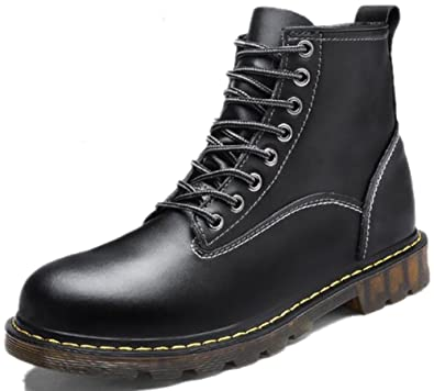 New Men's Fashion Casual Martin Boots Leather High Plus Velvet Boots