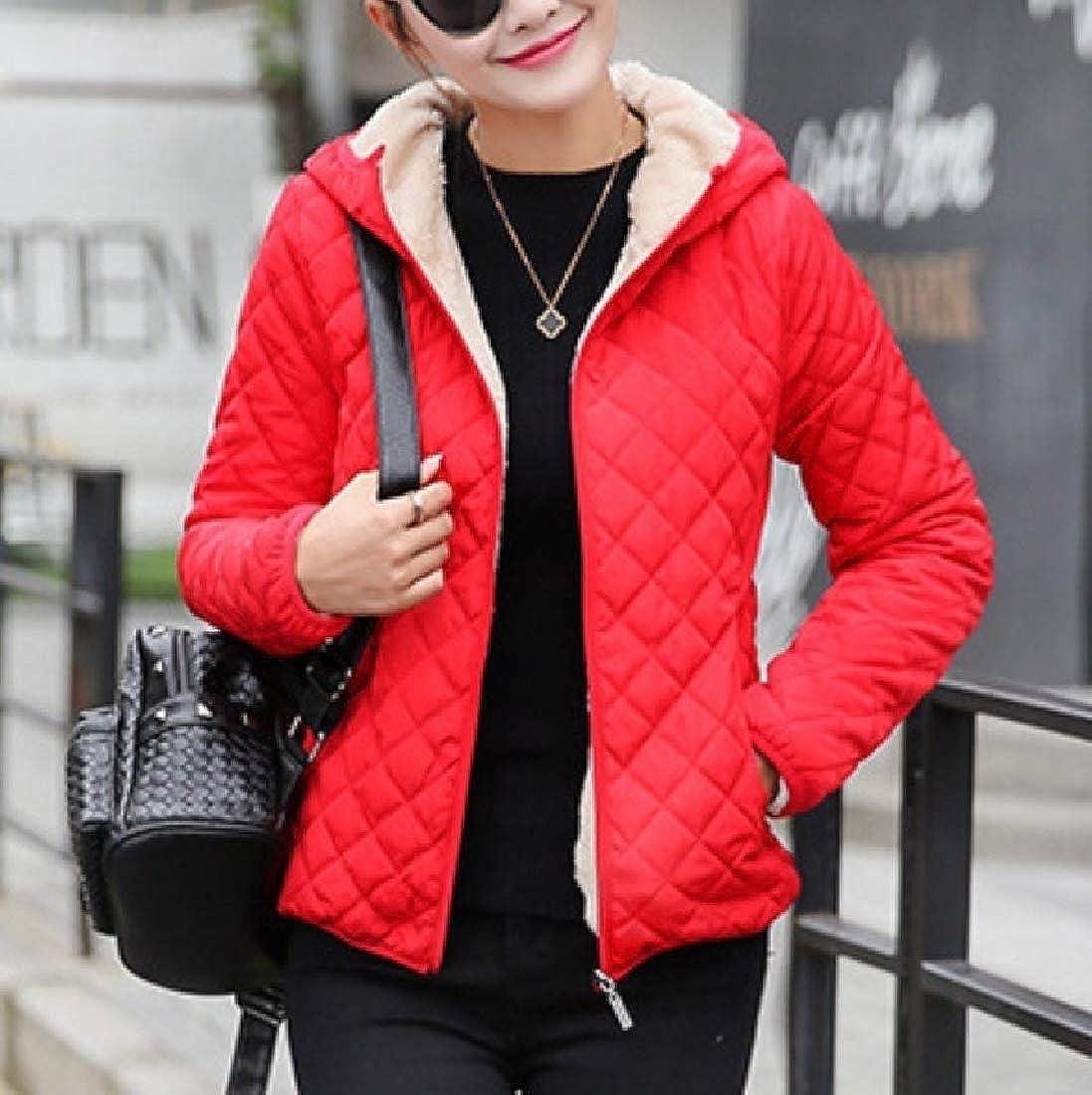 YUNY Women Sweatshirt Hooded Faux Fur Plus Velvet Wadded Jacket Red XL