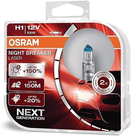 OSRAM 64150NL-HCB Gen 2 NIGHT BREAKER LASER H1- Bombillas H1 para Faros Delanteros, 12V, +150% más Luz 12V, Duo Box (2 Lámparas)
