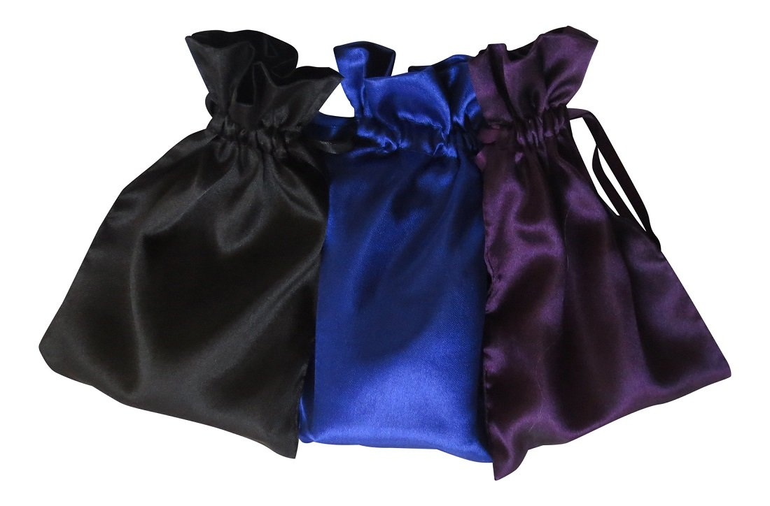 Tarot Bags: Dark Colors Satin Bundle of 3: Royal Blue Black and Purple (5