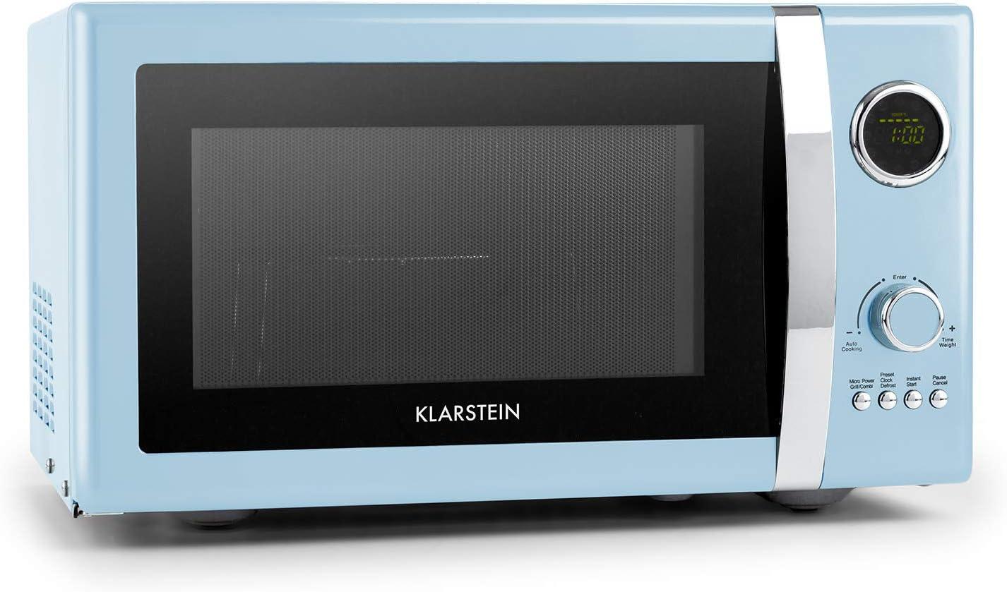 Klarstein Fine Dinesty Microondas Grill Retro - Carcasa metálica, 23 L, 800 W de potencia de microondas, 1000 W de potencia del grill, Programable, 12 programas, pantalla LCD, Azul: Amazon.es: Hogar