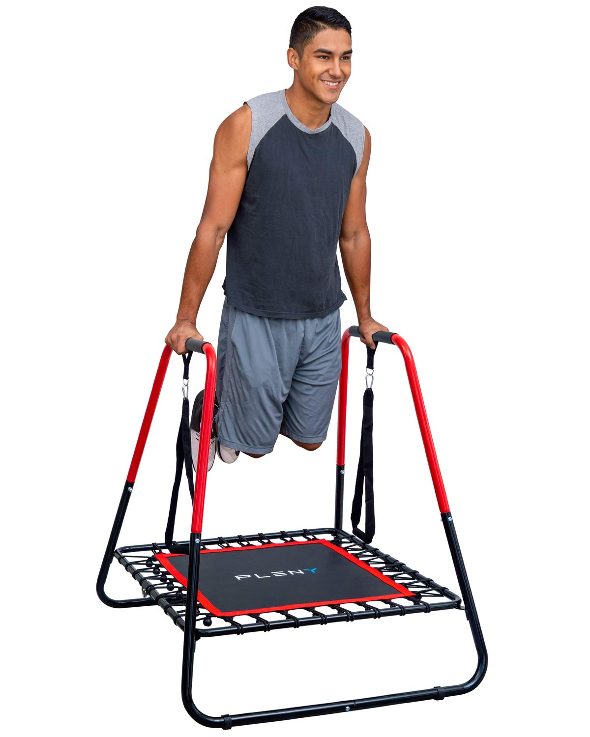 PLENY 2-in-1 Dip Station with 40 inches Trampoline