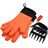 Uarter Barbecue Gloves & Pulled Pork Claws Set,BBQ Kitchen Cooking Oven Mitts, Long Waterproof Silicone with Cotton lining Heat Resistant Grilling Gloves, Grill Accessories Tools