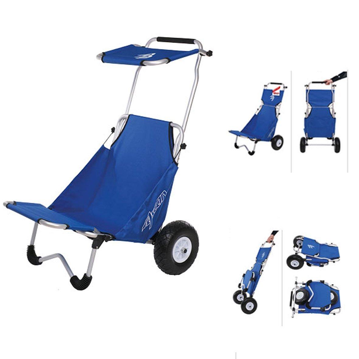 ASCAN playa Buggy con amplia ruedas y asiento y parasol & Carga de asiento Ampliación-El Buggy Beach es ideal para el deporte de playa, piscina, accesorios, ...