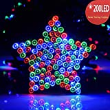 [UPGRADE] 200 LED Solar Powered String Lights by RECESKY 72ft Fairy Christmas Decor Lighting (10-wire clip included) for Outdoor, Indoor, Patio, Lawn, Home Party, Path, Yard Decorations (Multi Color)