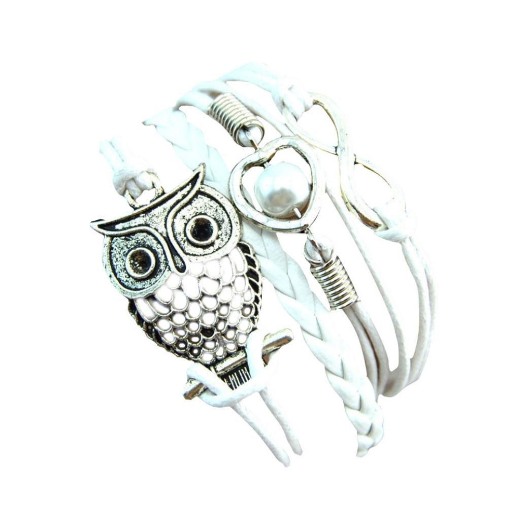 Sumen Women Girls Pearl Owl Friendship Vintage Leather Charm Bracelet Jewelry Gift Blue/)