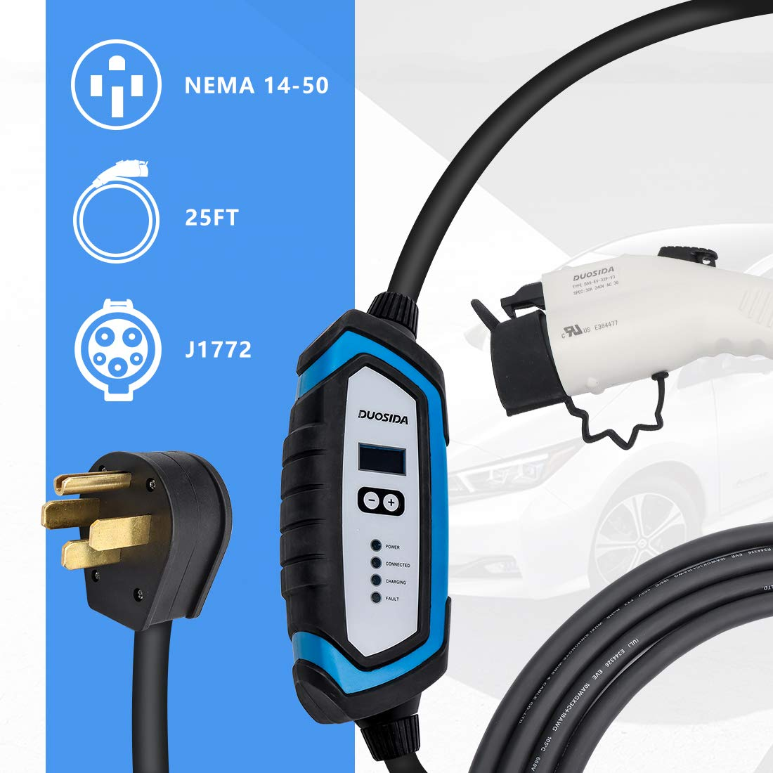 BougeRV Level 2 EV Charger (240V, 32A, 25FT) Portable EV Charging Cable EVSE Electric Vehicle Charger with NEMA 14-50P for Chevy Volt, BMW, Nissan Leaf, Fiat, Ford Fusion, Toyota Prius Prime by BougeRV (Image #4)