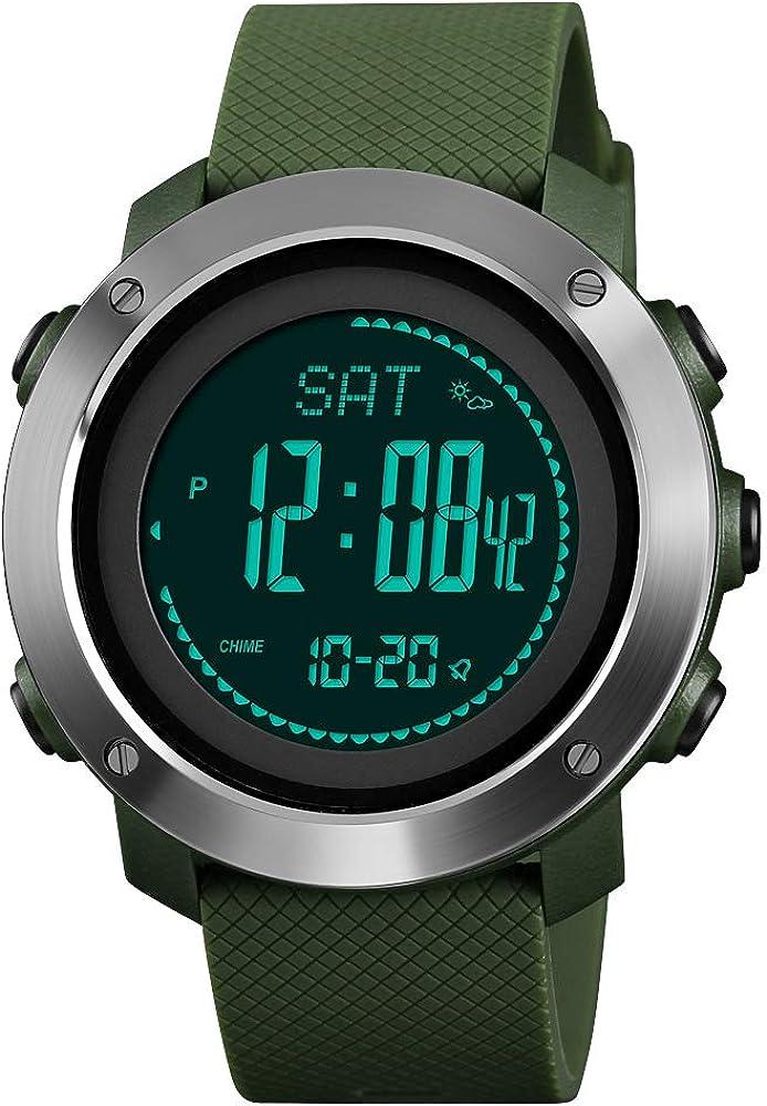 FeiWen Unisex Outdoor Militar Deportivo Digitales Brújula Relojes de Pulsera LED Electrónica Multifuncional Pulsómetro Altímetro Termómetro Alarma Reloj Plástico Bisel con Goma Correa